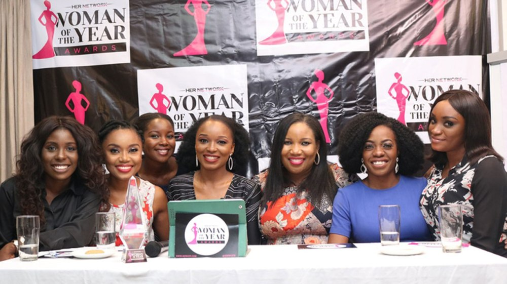 Left -Right; Jane Michael Ekanem, Arit Okpo, Feso Adeniji, Nkem Onwudiwe, Glory Edozien, Shade Ladipo, Victoria Oyedele at the HNWOTY Nominees Reveal.